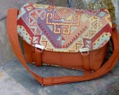 Sale! Was 49.00, Now 39.00! Messenger Bag, Large, Rust, Gold, Turquoise
