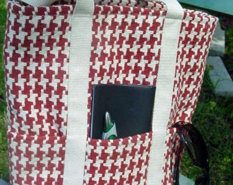Shoulder Bag, brick red and natural houndstooth