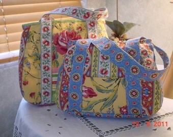 Colorful 4 Fabric Cotton Tote,