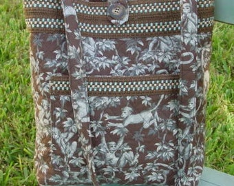 Quilted Cotton Shoulder Bag, Slate Blue Grey and Chocolate Brown With Monkeys All Over