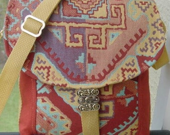 Sale! Was 39.00, Now 29.00! Messenger Bag, clay, turquoise, gold