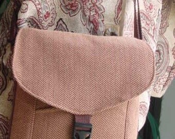 Sale! Was 39.00, Now 29.00! Messenger Bag, brown and taupe herringbone pattern