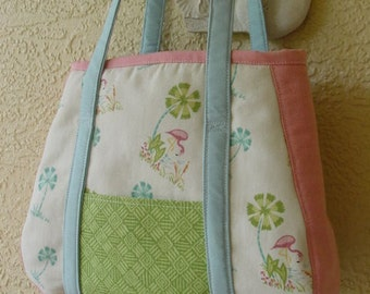 Large Pink Flamingo and Palm Tree Tote Bag, Richloom Fabric, Shopping, Books, Crafts, Diaper