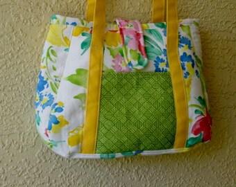 Large Colorful Floral Summer Tote, Book Bag, Diaper Bag