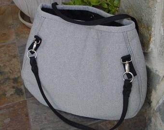 Large Grey and Black Tote, Shopping, Book Bag, Diaper Bag, Shoulder Bag