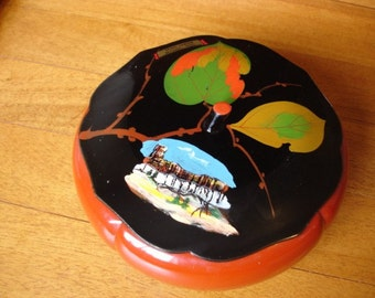 Wood Hand Painted Souvenir Dish