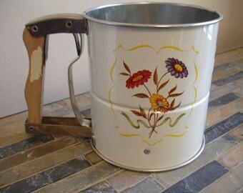 Vintage wooden handle Flour Sifter