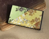business card holder and display patchwork autumn fall colors wooden gift for her