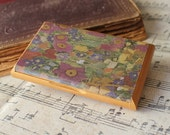 gustav klimt's flowers in retro and vintage style uniqe business card holder and display gift for christmas
