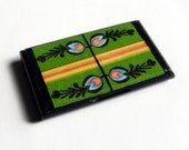 folk business card holder and display folk floral green and black wooden gift for her miniART