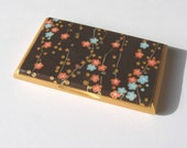 business card holder and display japanese asian style flowers gold wooden gift for her