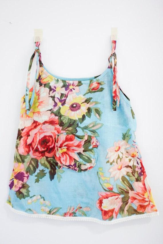 Girls blue flower sun tank dress / shirt size 1-3