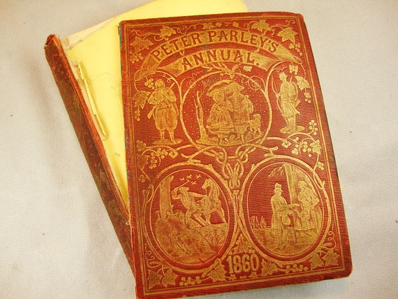 1860 Peter Parley's Annual engravings illustrated ephemera great for stamps, assemblage, collage