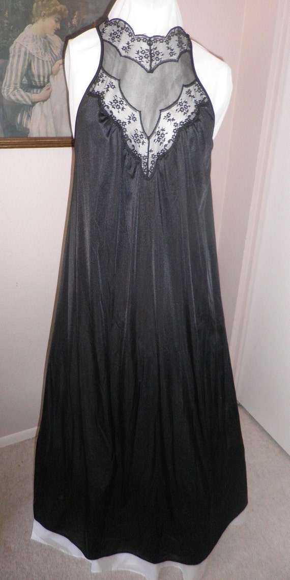 Vintage black long nightgown with sexy bodice with black lace.