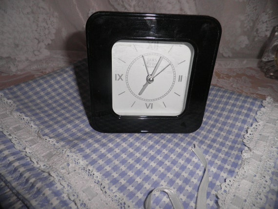 Vintage SAKS FIFTH AVE clock in original box with instructions has alarm battery run