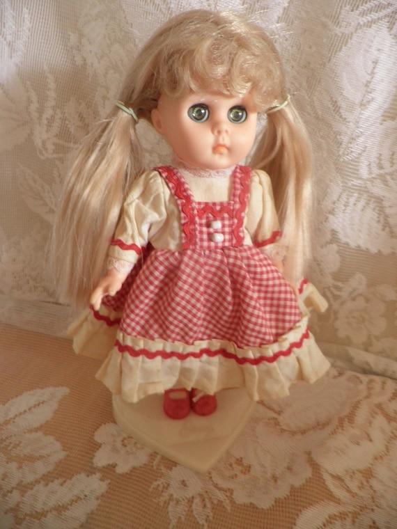 Vogue by Dakin  GINNY doll red white checked dress w rick rack original stand  SUMMER SALE
