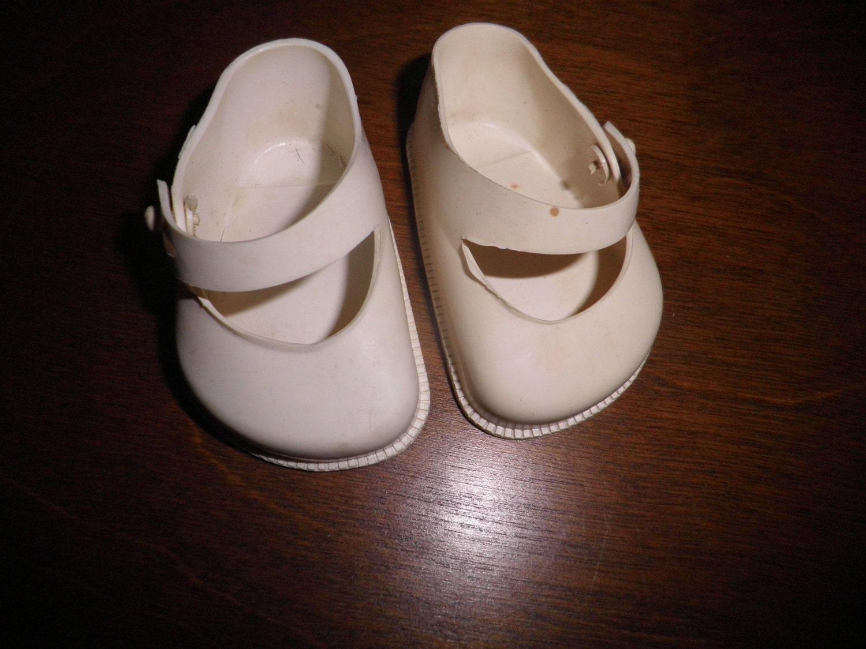 vintage white plastic doll shoes size 4 cinderella sale