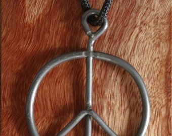 1969 vintage modern UPcycled Peace Sign necklace pendant