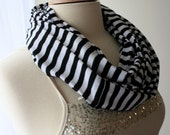 Black and White Striped Loop Scarf...Jersey