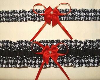 2 red white black Houndstoooth wedding garter set Alabama toss keep plus keepsack bag Crimson Tide