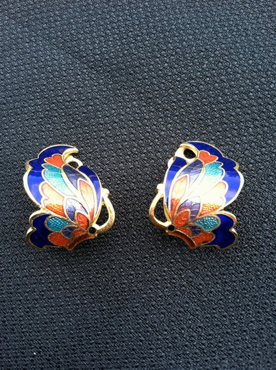 Butterfly Cloisonne Clip Earrings is Bright Fun Colors of gold, blue, lavender, pink, red, turquoise