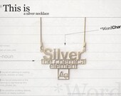 Word charm / Silver - necklace