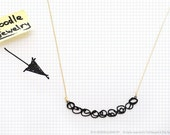Doodle jewelry / pearl drawing necklace in black