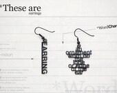 Word charm / Earrings in black