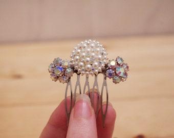 Comb - Small Sparkly Art Deco Bridal Pearl and Rhinestone Comb