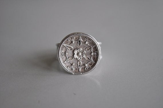 Silver Flower Granulated Ring