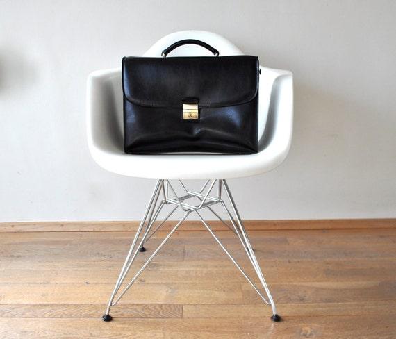 Vintage Black Leather Briefcase Satchel