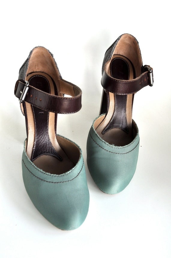 Reserved for FELICIA - Vintage Marni Two Tone Leather Canvas Pumps
