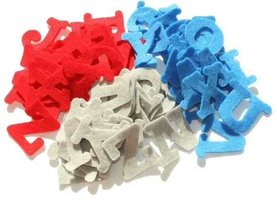 "Felt Alphabet 1,5 "" tall Uppercase - red, grey, blue 3 sets (78 pieces)"