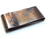 Copper Money Clip---Mens Double Sided  Copper Money Clip--- S Shape Antique Finish with Your Choice of Texture