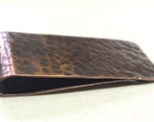 Copper Money Clip---Antique Finish with Dimpled  Texture