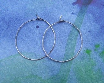 Simple Classic Sterling Silver Hoops---Antiqued Finish