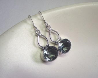 Light Green Amethyst Dangle Earrings with Sterling Silver---Shiny Finish