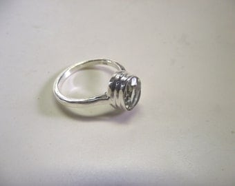 Faceted Oval Green Amethyst and  Sterling Silver  Ring ----Size 9