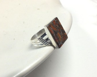 Orange Turquoise Rectangle and Sterling Silver Ring---Size 9.5