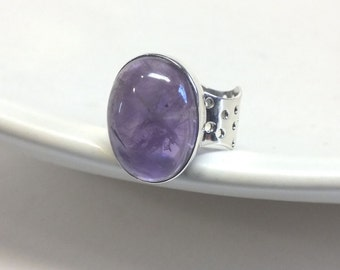 Oval Amethyst and Sterling Silver Ring with Thick Band and Holes---9 1/2