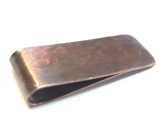Mens Copper Money Clip---Antique Finish with Heavy Texture