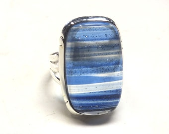 Rectangle Dichroic Glass---Bright Blue Stripes---Size 7 1/2