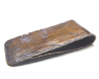 Copper Money Clip ---Antique Finish with Heavy Texture---Pleated Edges