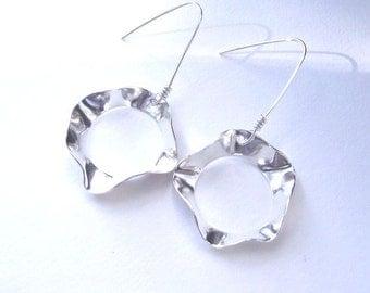 Shiny Finish Heather Earrings---Free form Sterling Silver Earrings