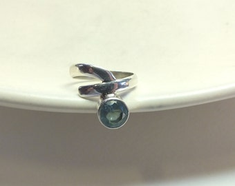 Blue Topaz and Sterling Silver Twist Ring---8.5