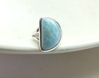 Bright Blue Larimar and Sterling Silver Ring---Size 5.5