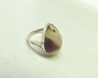 Pear Shaped Red and Cream  Botswana Agate and Sterling Silver Ring---Size 9