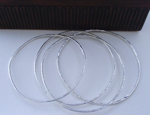 Xena----Sterling Silver X Large Bangles----Shiny Hammered Finish