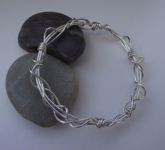 Meditation---Medium Sculptural Woven Sterling Silver Bangle---Woven, Twisted, Weaved Silver