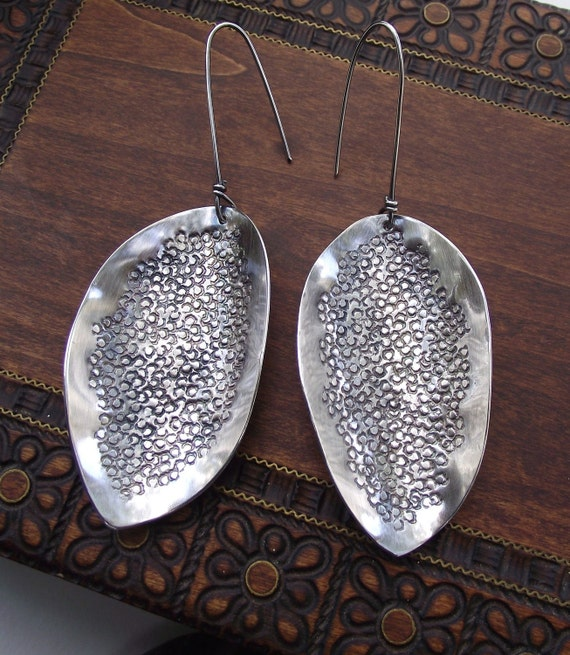 Large Sterling Silver Textured Leaves